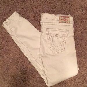 amazing true religion skinny white jeans. size 31